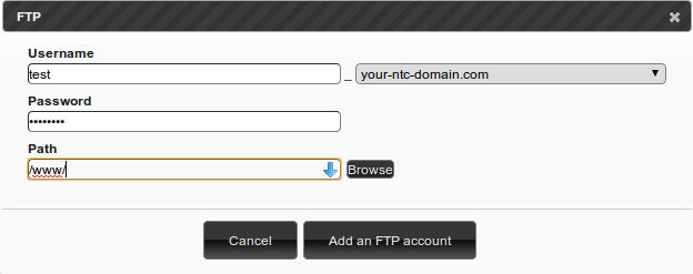 How to create a FTP Account