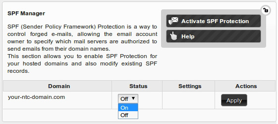 Enabling SPF protection is easy, using NTC Hosting Control Panel