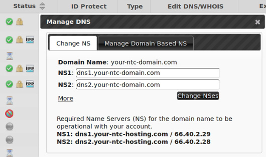 how to register private name servers via the web hosting control panel provided by NTC Hosting