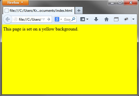 example page with yellow background - Page Color Html