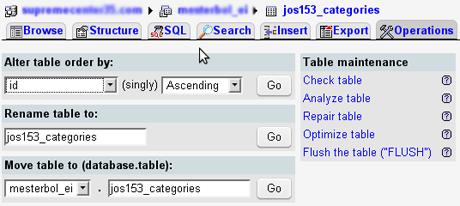 MySQL alter table (managing MySQL table settings)