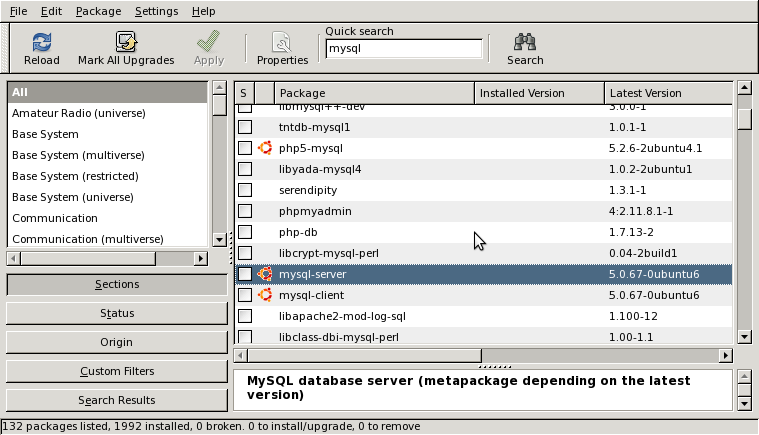 Ubuntu Synaptic Package Manager