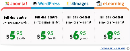 album, cms, blog web hosting with advanced domain and DNS controls