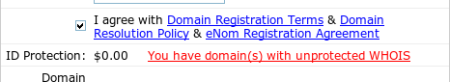 Filling in the WHOIS information for a domain name registration
