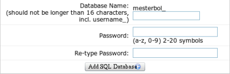 how to create a new MySQL databasee, using the Database Manager in NTC Hosting's Control Panel