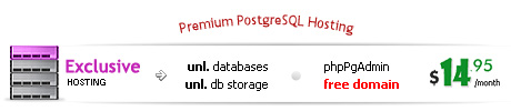 5 PgSQL databases, 400MB PgSQL database storage, phpPgAdmin