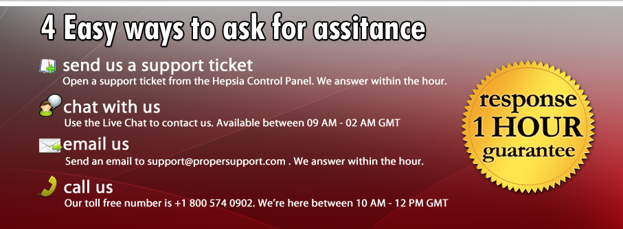 A 1 hour guaranteed response time for our support team