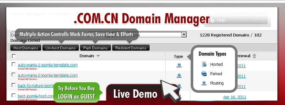 dot-COM.CN domains parking & redirections