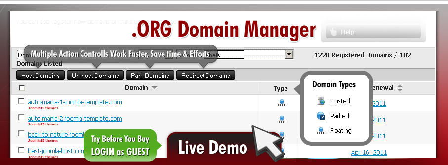 dot-ORG domains parking & redirections